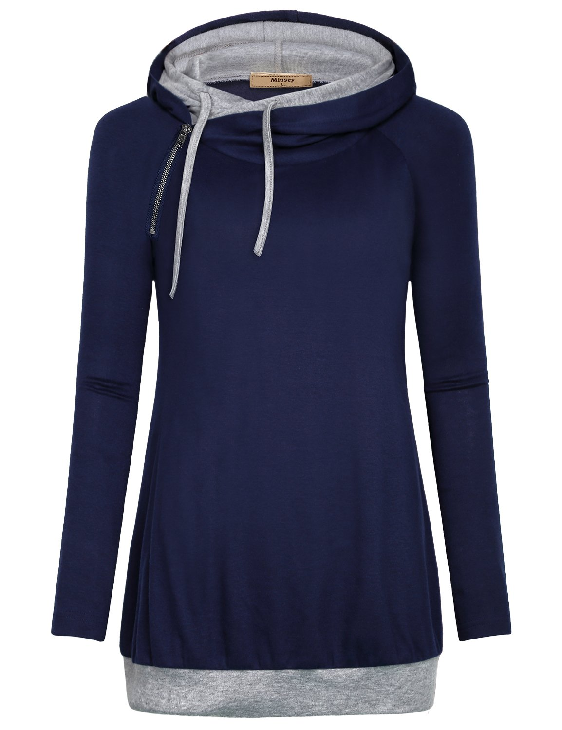 Miusey Womens Hooded Sweatshirts, Juniors Warm Sweaters Lightweight Long Sleeve Side Zipper Cowl Neck Relax Fit Travel Hoodie Banded Bottom Double Hood Tunic Tops Royal Blue XXL