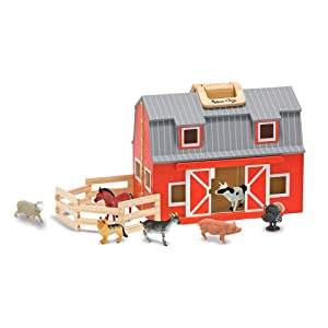 "Melissa & Doug Wooden Fold & Go Barn, Animal & People Play Set, Promotes Imaginative Play, 7 Animal Play Figures, 11.25"" H x 13.5"" W x 4.7"" L"