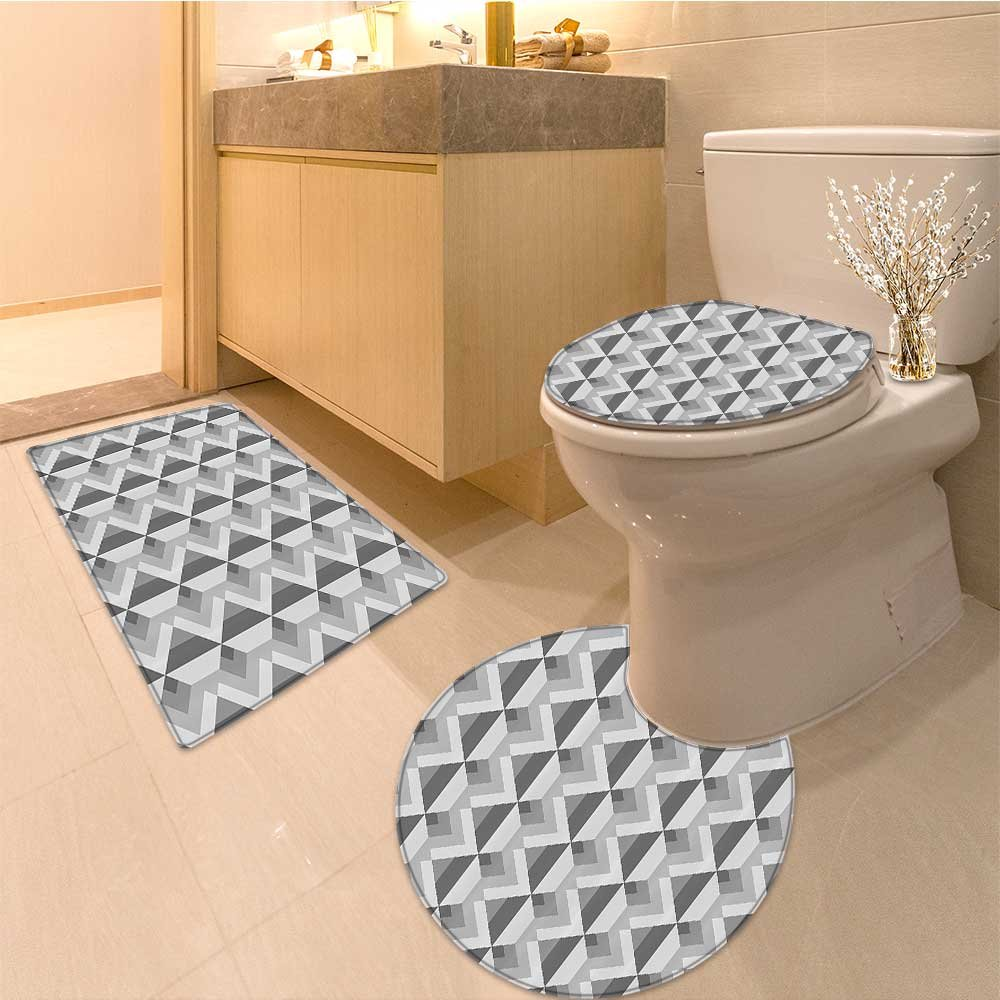 3 Piece large Contour Mat set Triangles with Paralle Lines in Dark and Light Retro Pattern Artwork Fabric Set with Bathroom Rugs Contour Mat Lid Toilet Cover