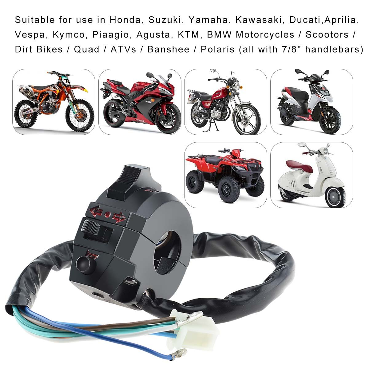 Amazon.com: Kawell Switch light turn signal Switch dirt bike honda ktm  suzuki kawasaki yamaha sport motorcycle universal 520 450 530 500 250 wr  wrf xr 600 ...