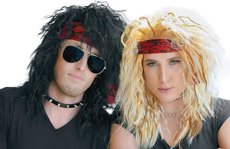 Glam Rock Punk Rocker Jon Bon Jovi Wig 80/'s 1980s Mens Fancy Dress Costume