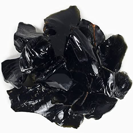 TWO Raw black obsidian chunks,Natural stones,Rough obsidian,Protection stone
