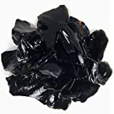 Hypnotic Gems Materials: 1/2 lb Bulk Rough Black Obsidian Stones from Mexico - Raw Natural Crystals for Cabbing, Cutting, Lapidary, Tumbling, Polishing, Wire Wrapping, Wicca and Reiki Crystal Healing