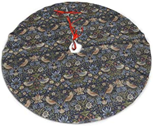 TOLUYOQU William Morris Strawberry Thief Christmas Tree Skirt with Velvet Xmas Tree Skirt Mat for Christmas Decoration Party and Holiday Decor (36 inch)