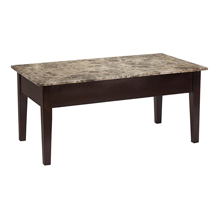 1. Dorel Living Faux Marble Lift Top Coffee Table