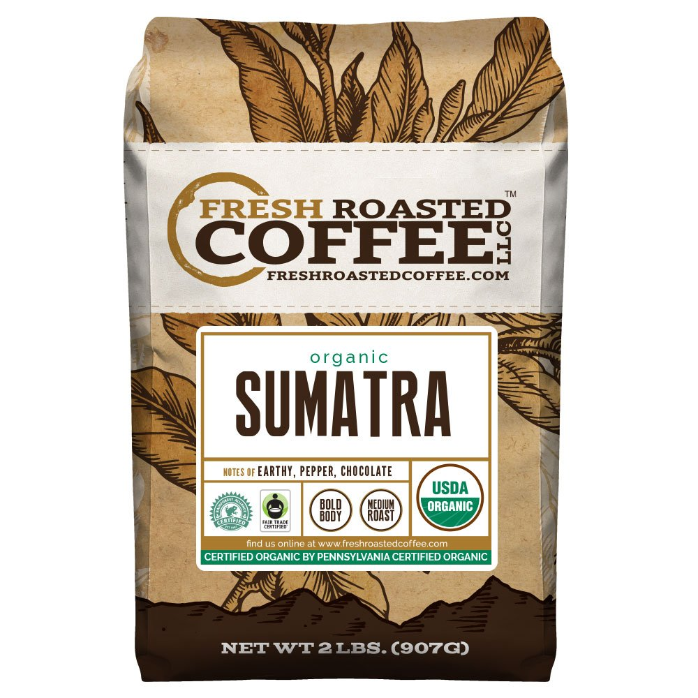 FTO Sumatra Coffee, Whole Bean, Fresh Roasted Coffee LLC (2 Lb.) by Fresh Roasted Coffee