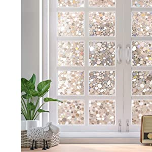 Rabbitgoo Decorative Window Film Non-Adhesive, Window Privacy Film for Glass Windows, Frosted Window Clings for Home Office Privacy & UV Protection, Glue-Free (3D Pebbles, 17.5 x 78.7 inches)