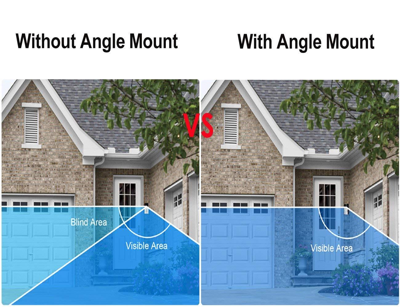 Support dangle r/églable pour Ring Video Doorbell 2//1 blanc 30 /à 55 degr/és 1 /ère g/én/ération adaptateur angle support plaque de montage coin Wedge Kit pour Ring Doorbell 2 // original CAVN