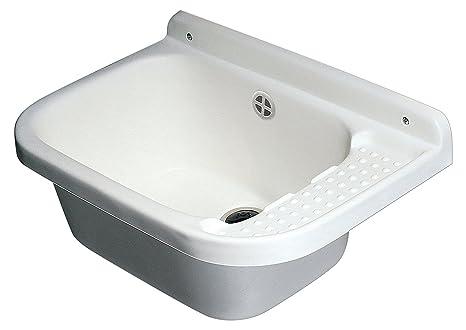 Lavello Da Giardino In Plastica : Lavabo lavandino da parete resina sifone e piletta cm 60x39xh.28