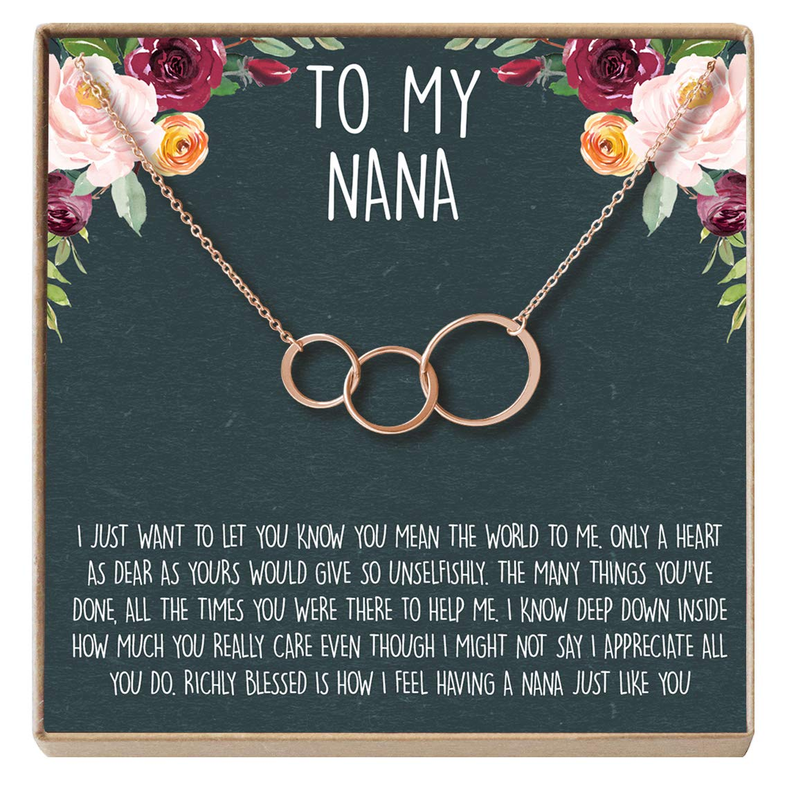 for Grandma Grandmother Gold-Plated-Brass NA 3 Asymmetrical Circles 3 Asymmetrical Circles Dear Ava Nana Gift Necklace: Nana Jewelry