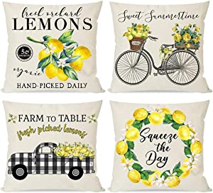 PANDICORN Farmhouse Lemon Pillow Covers 20x20 Set of 4 for Home Decor, Black Buffalo Plaid Truck Wreath Bicycle, Summer Yellow Throw Pillow Cases for Outdoor Decorations Porch
