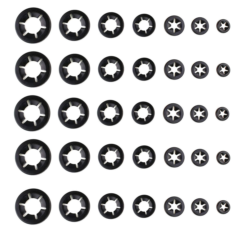 YouU 200 St/ück Innenzahn Schnellverschluss Starlock-Unterlegscheiben M3,4,5,6,8,10,12 Unterlegscheibe Sortiment