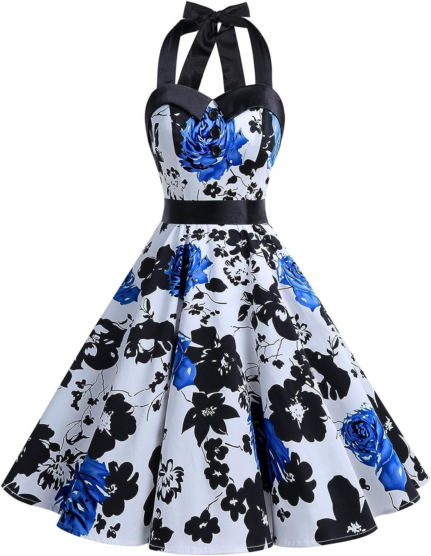 TALLA XL. Dressystar Vestidos Corto Cuello Halter Estampado Flores y Lunares Vintage Retro Fiesta 50s 60s Rockabilly Mujer Blue Flower XL