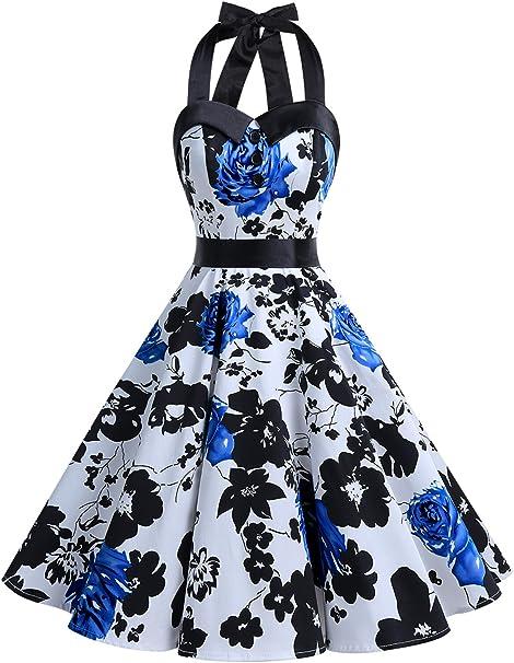 TALLA S. Dressystar Vestidos Corto Cuello Halter Estampado Flores y Lunares Vintage Retro Fiesta 50s 60s Rockabilly Mujer Blue Flower S