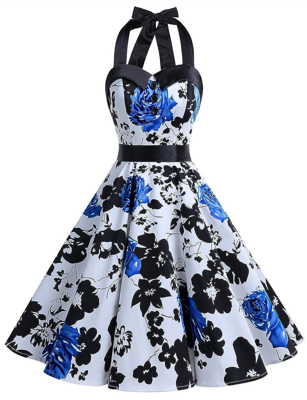 TALLA L. Dressystar Vestidos Corto Cuello Halter Estampado Flores y Lunares Vintage Retro Fiesta 50s 60s Rockabilly Mujer Blue Flower