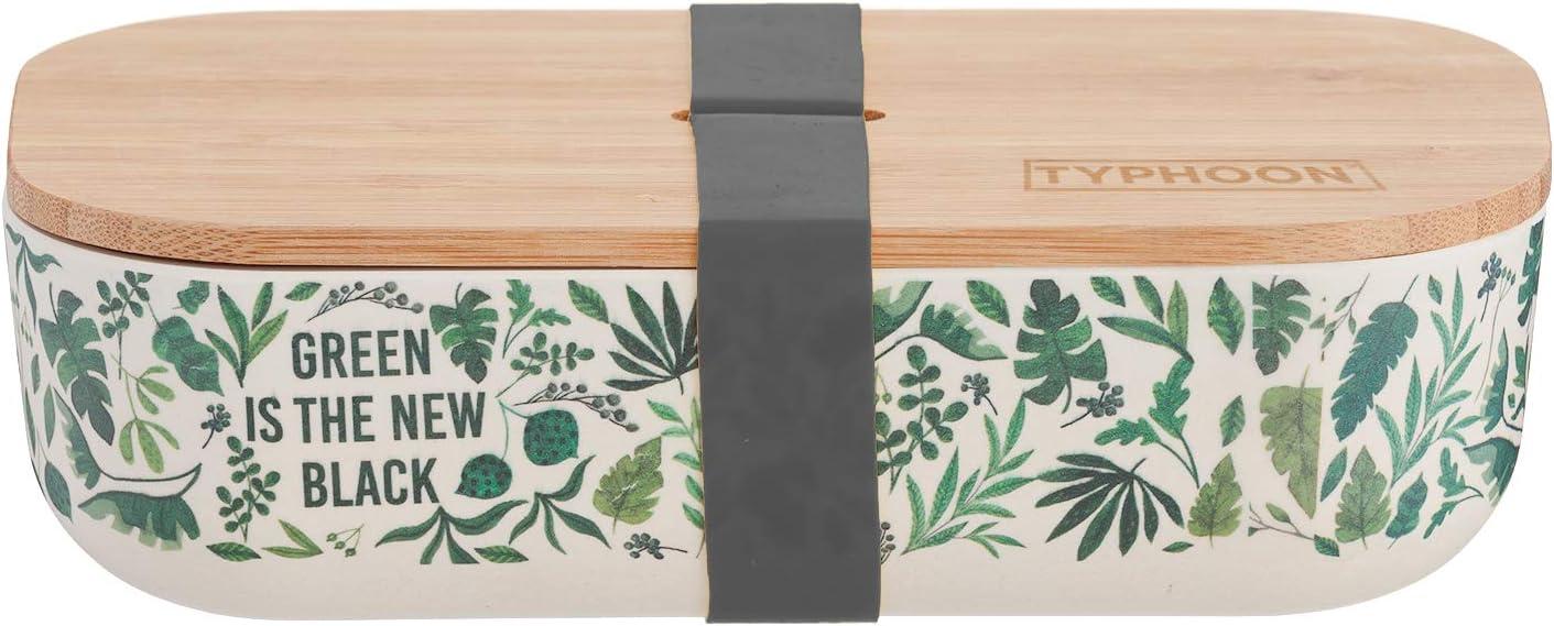 Typhoon Pure Green est la Nouvelle bo/îte /à d/éjeuner en Bambou Noir 5,8 x 20 x 10,8 cm