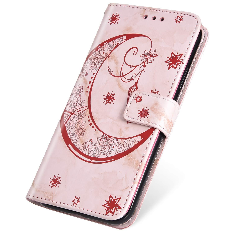 SainCat Coque Compatible avec Samsung Galaxy S10 Plus Portefeuille Pelle Marbre Ultra Mince Flip Cuir Motif de Lune Cover Fonction Support Antichoc Bumper Étui Case-Noir