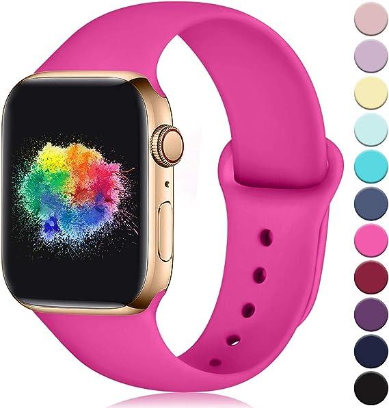 Imagen deYoumaofa Correa Compatible con Apple Watch 38mm 40mm, Correa de Silicona Repuesto Pulsera Deportivas para iWatch Series 5 Series 4 Series 3 Series 2 Series 1, 38mm/40mm S/M Rosa