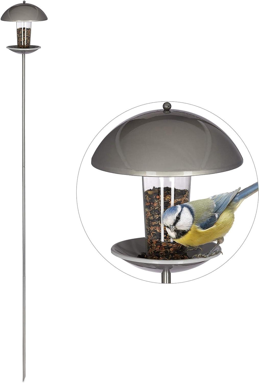 Relaxdays, Plateado, Comedero Pájaros para Clavar o Colgar, Plástico y Acero Inoxidable, 172 cm
