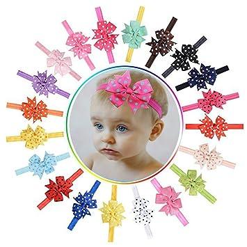 20 Pcs Polka Dot Baby Girl s hair bow Hair Bands Headband Toddler Newborn   Amazon.co.uk  Beauty fbd8306ad2a