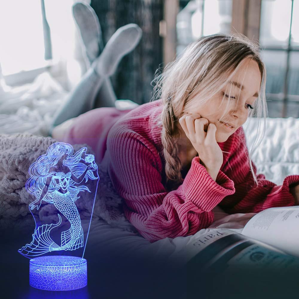 Meerjungfrau Nachtlicht f/ür Kinder 3D Lampe 16 Farben /Ändern mit Fernbedienung Meerjungfrau Spielzeug f/ür m/ädchen Geburtstags Geschenke f/ür Frauen