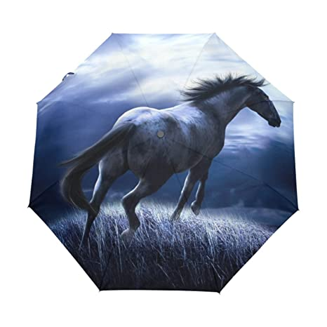 26d3116872dd Amazon.com: DOENR Fantasy Horse Compact Travel Umbrella Sun and Rain ...