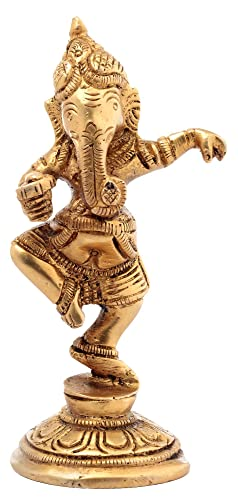 Handmade Indian Brass Hindu God Dancing Ganesha Statue 3.25 Inches Pooja Mandir