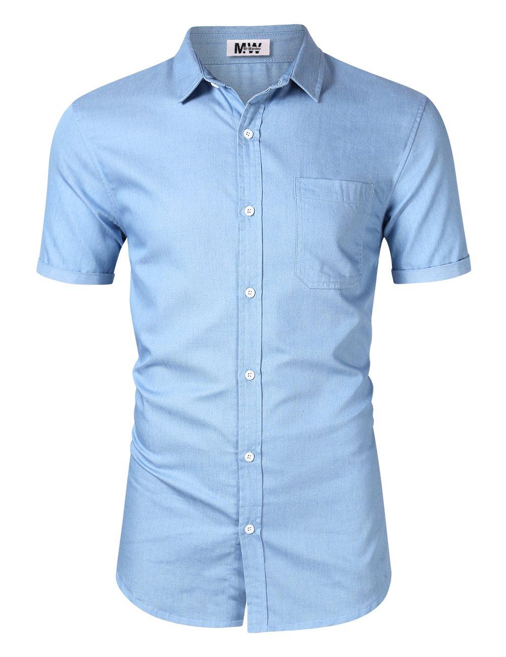 MrWonder メンズカジュアルスリムフィット長袖ボタンダウンドレスシャツ デニムシャツ B07CBRQVR5 Small スカイブルー スカイブルー Small