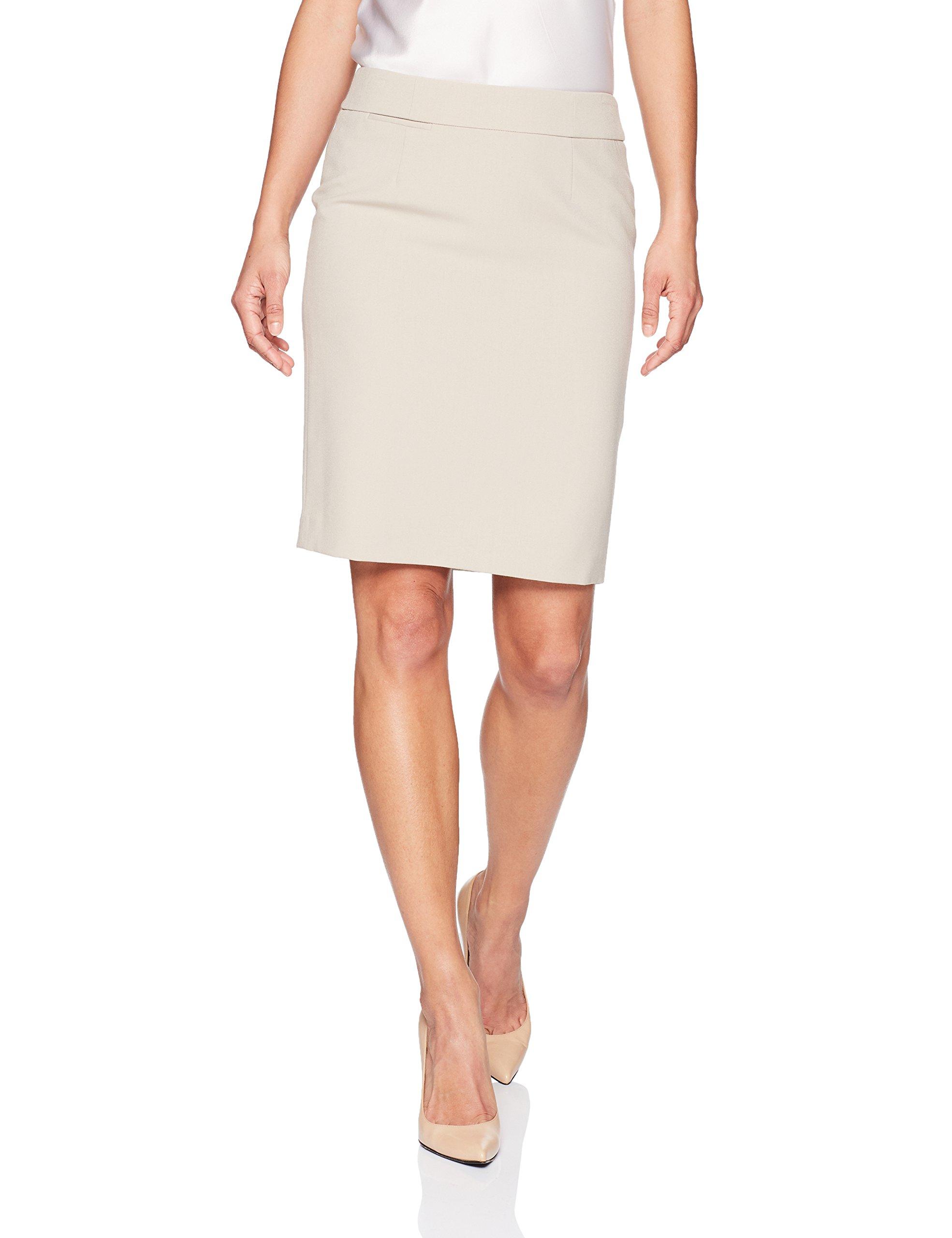 Calvin Klein Women's Petite Lux Straight Skirt, Khaki, 12P