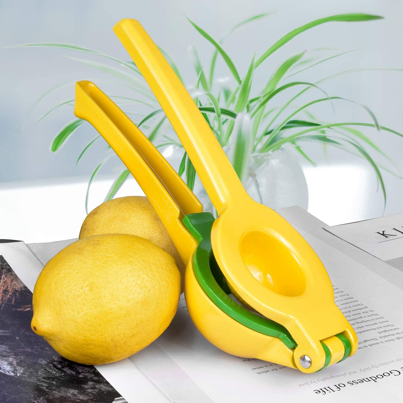 Yellow Efficient Extraction Lemon Squeezer Citrus Juicer Press Premium 2-in-1 Hand Lime Squeezer Quality Aluminum Alloy Manual Fruit Juicer Durable
