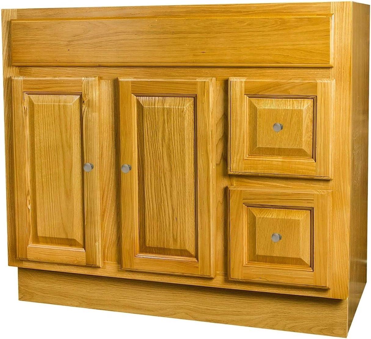 Amazon Com Raised Panel Oak Bathroom Vanity 36x18 Wood Stained Kitchen Dining