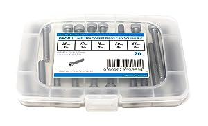 iExcell 20 Pcs M6 x 35/40/45/50/55mm Stainless Steel 304 Hex Socket Head Cap Screws Bolts Assortment Kit, Fully Threaded