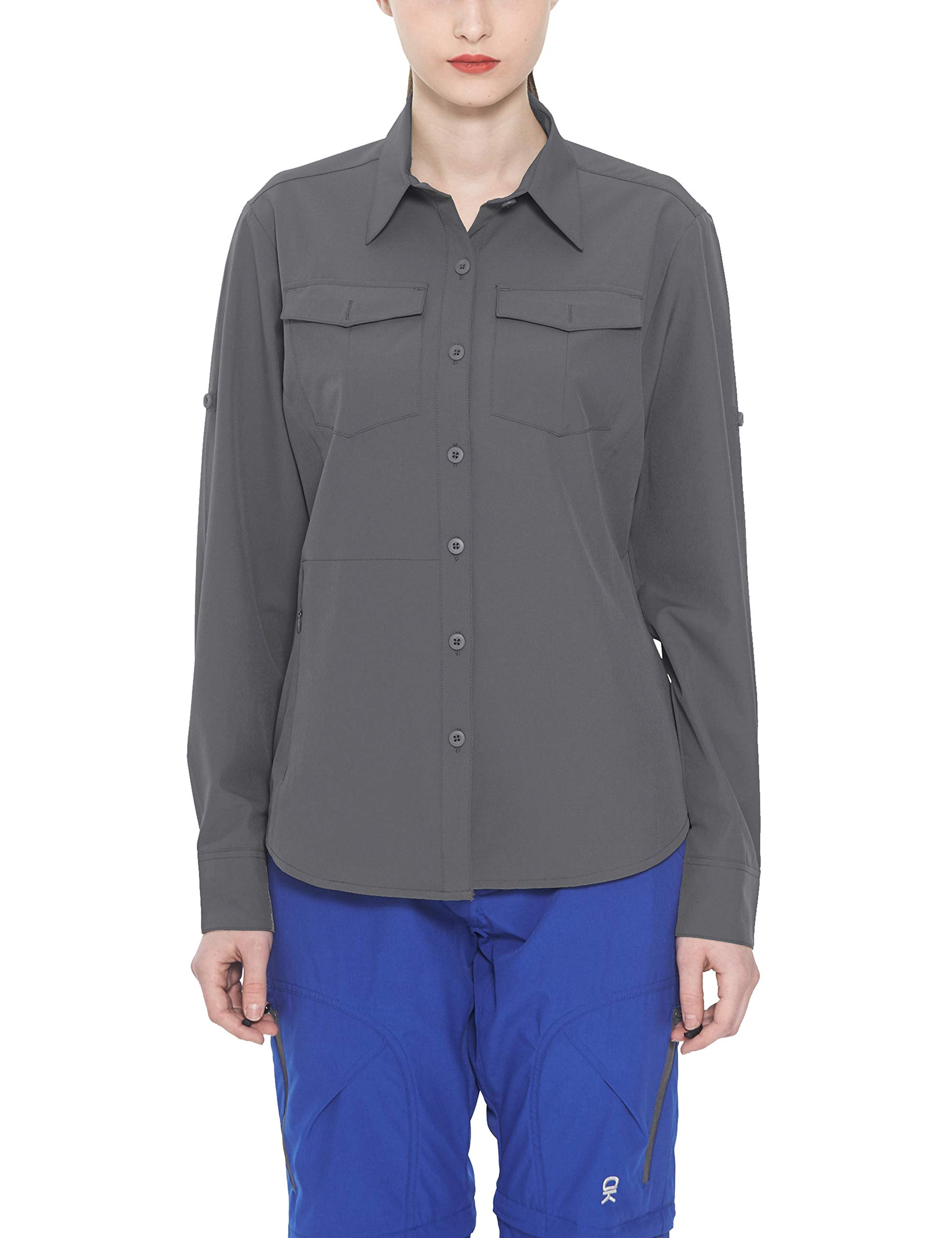 Little Donkey Andy Women's Stretch Quick Dry Water Resistant Outdoor Shirts UPF50+ for Hiking, Travel, Camping Grey Size L by Little Donkey Andy