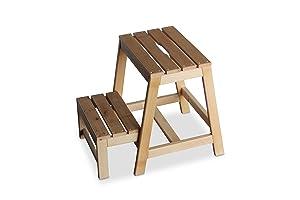 Marchepied en bois de hêtre avec 2 étages, pliable, nature, B38 x T54 x H45 cm