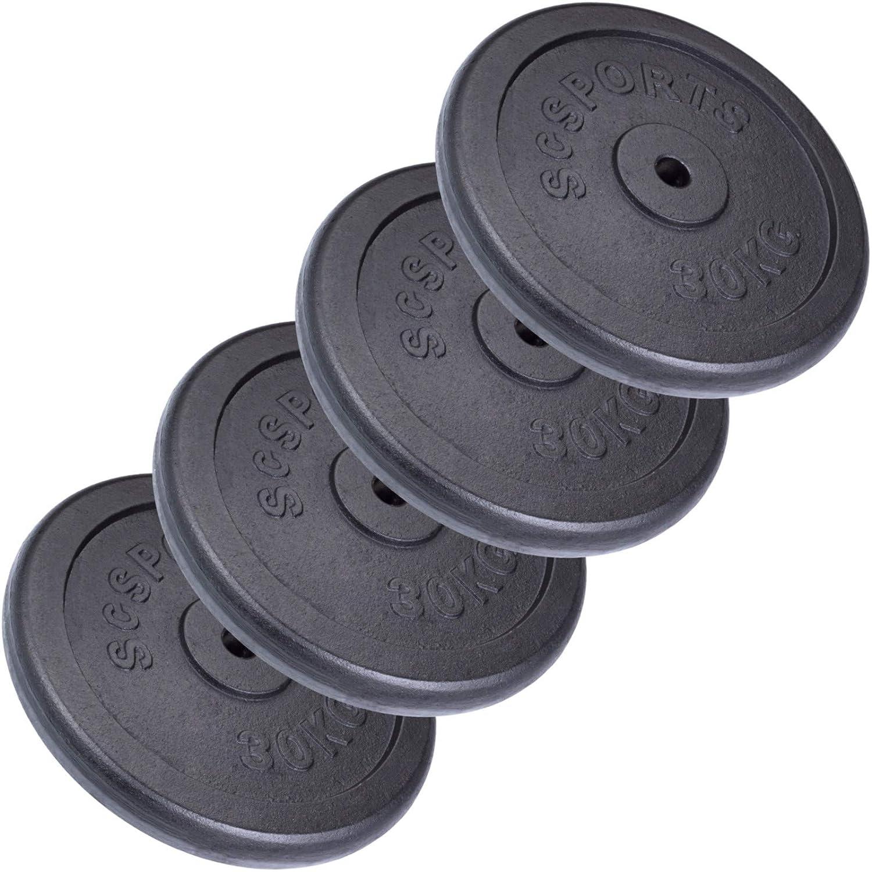 ScSPORTS® 120 kg Hantelscheiben-Set Gusseisen 4 x 30 kg Gewichte 30/31 mm Bohrung, durch Intertek geprüft + Besteanden¹