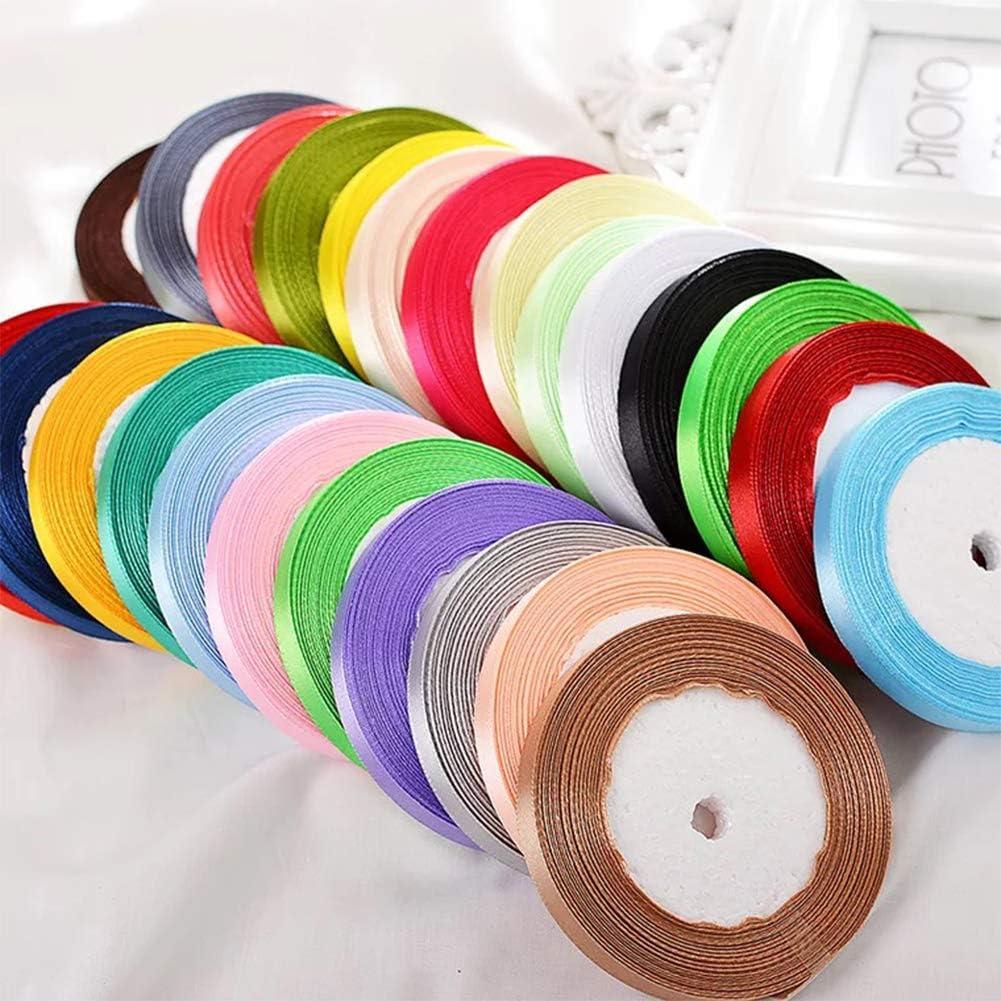 Kissbuty 1//2 Inch 25 Yards Gift Wrapping Ribbons Single-Sided Fabric Ribbon Embellish Ribbon Silk Ribbon Roll for Bows Crafts Gifts Party Wedding Black Solid Color Satin Ribbon
