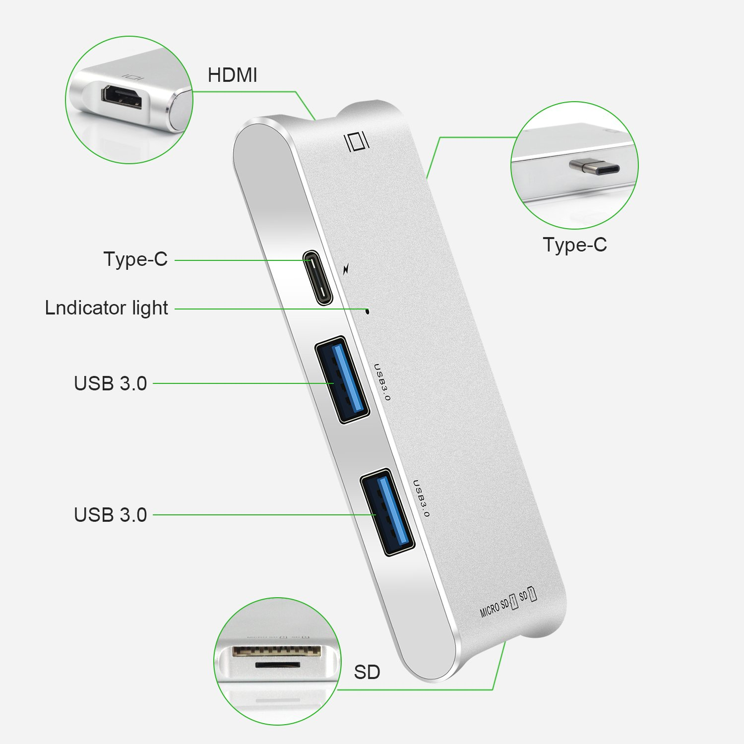 USB Type-C Hub, LUCKYDIY USB-C Adapter with HDMI 4K+2-Port USB 3.0+Power Delivery+Card Reader for MacBook Pro 2016/2017/Google Chromebook/More Type-C Devices by LUCKYDIY (Image #3)
