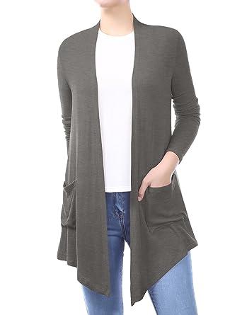 dac75f14a BIADANI Women Open Front Lightweight Soft Drape Light Sweater ...