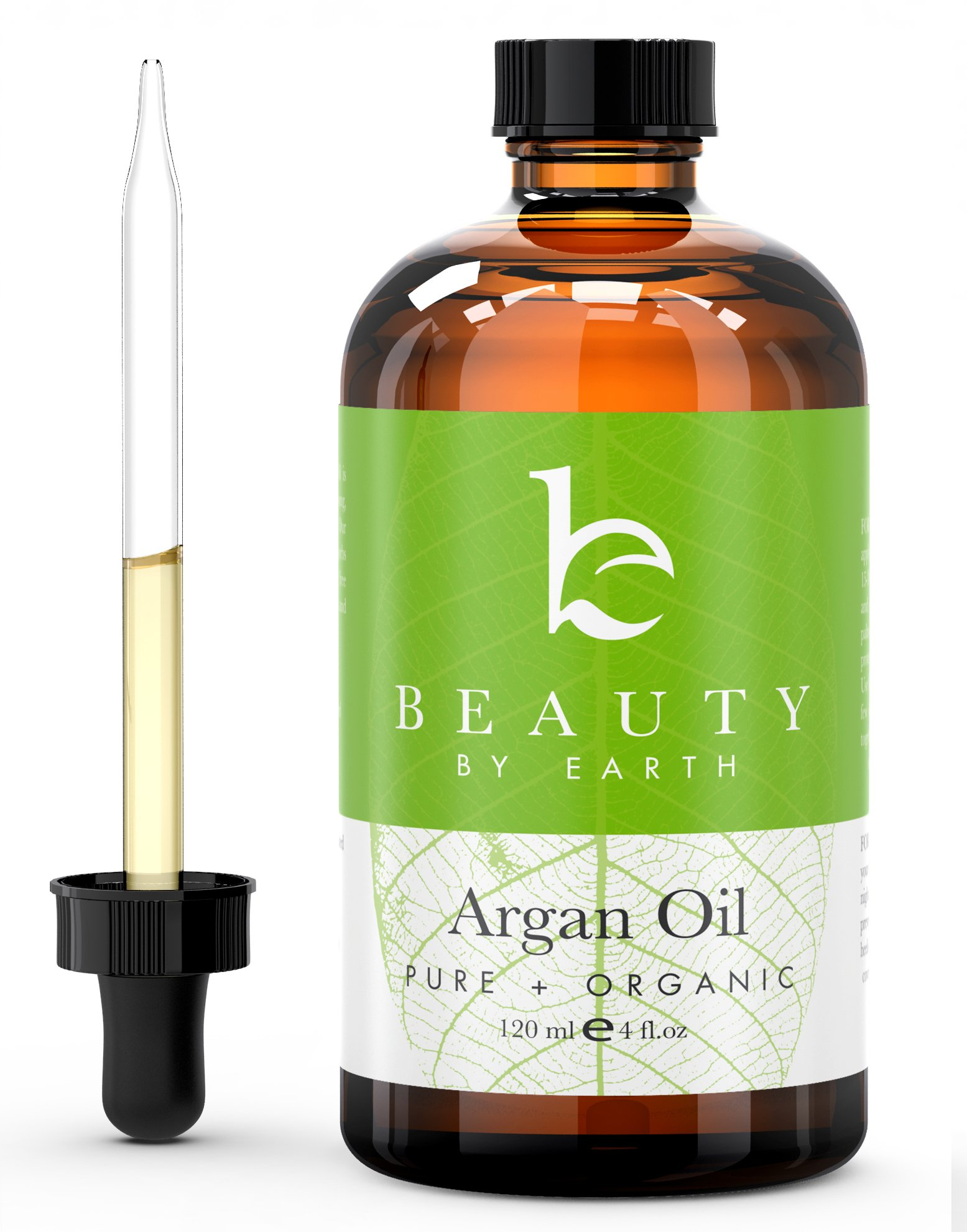 Beauty by Earth USDA Certified Organic Moroccan Argan Oil; Pure Virgin, Cold Pressed Anti-Aging Miracle Beauty Secret for Face, Hair, Nails and Skin 4 oz