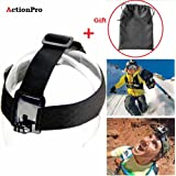 Action Pro Elastic Adjustable Head Strap Mount with Anti-slide Glue, Belt Headband and Storage Bag for GoPro Hero, SJcam Yi Sports Camera