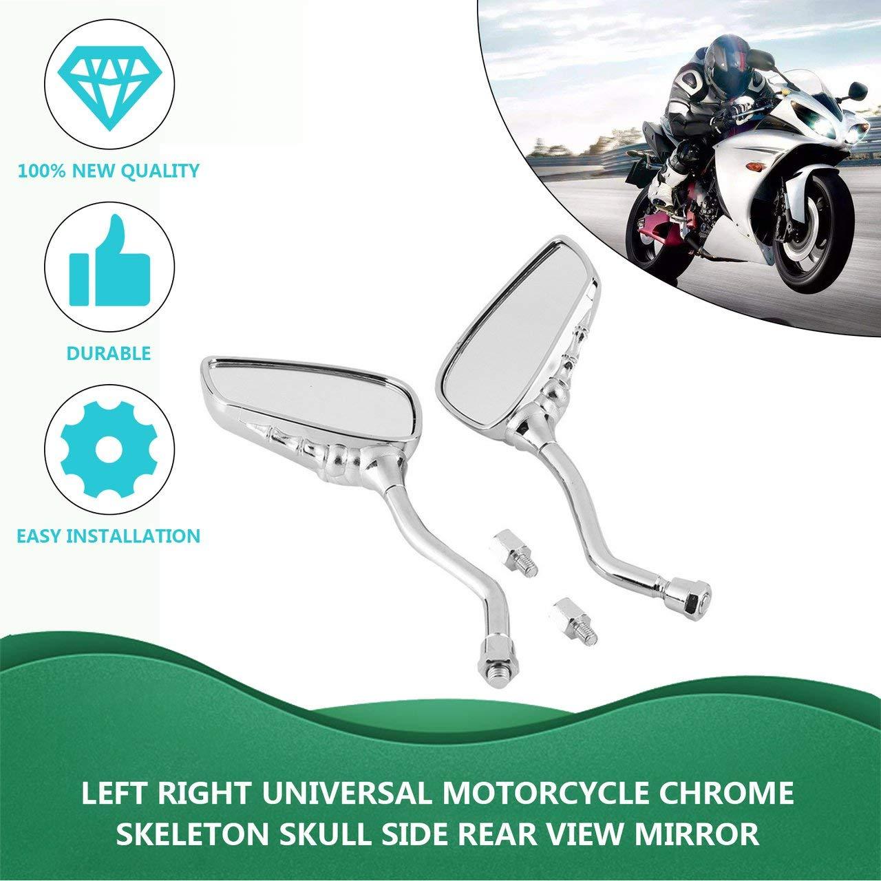 Plateado Izquierda Derecha Universal Motocicleta Cr/áneo Esqueleto Cr/áneo Estilo Garra Mano Espejos retrovisores laterales 10 mm F/ácil de instalar ESjasnyfall