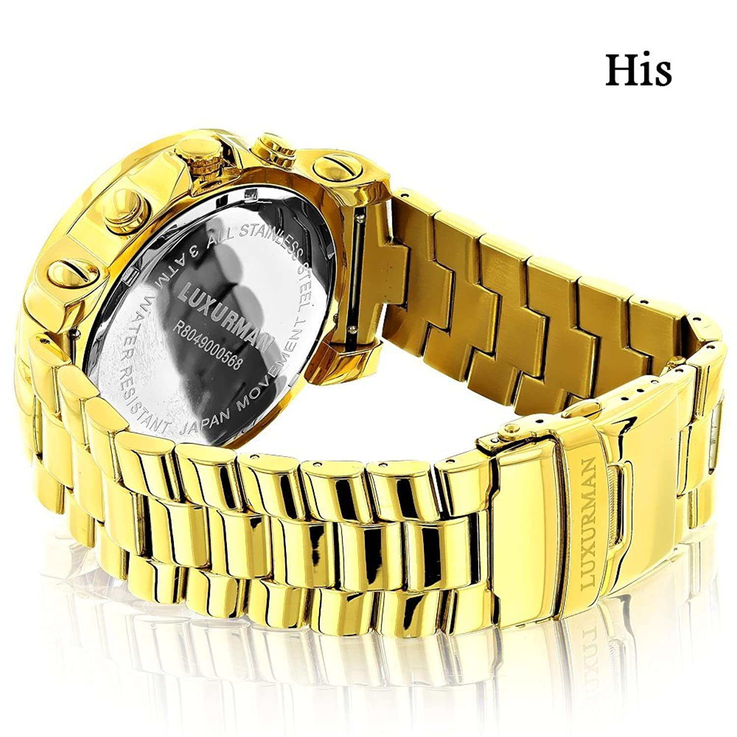 Large His And Hers Watches Yellow Gold Plated Luxurman Akribos Xxiv Ak499rg Mens Mech Watch Leather Strap Rose Diamond Set 055ct