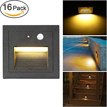 SUBOSI 16Foco Empotrable de Pared LED 3W Lámpara de Pared Lámpara de luz de Escalera Detector de Movimiento Piso Lámpara de Escalera Empotrada Lámpara de Salón 2800K Blanco Cálido: Amazon.es: Iluminación