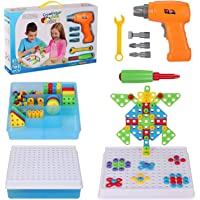 Creative Drilling Toy with Screwdriver Tool Playset STEM Toys, Electric Drill Puzzle for Kids, Mosaic Design Building…