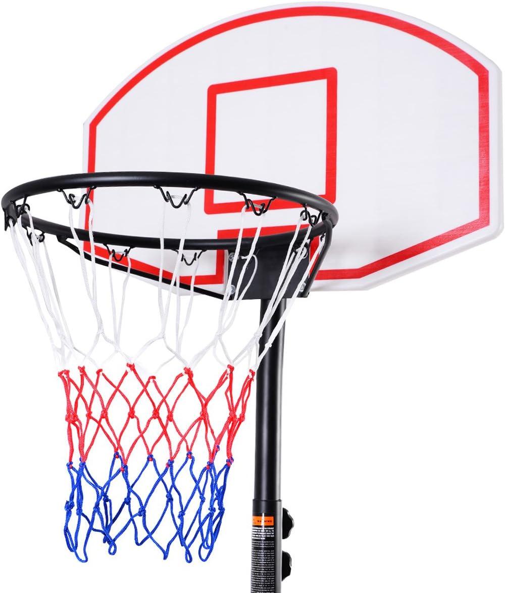 Support en Acier Hydrofuge Panneau R/ésistant au Choc Base Lourde Jardin Terrain du Sport Parc Garage DREAMADE Panier de Basket-Ball Ext/érieur Enfants avec Hauteur de 1,8 /à 2,1CM