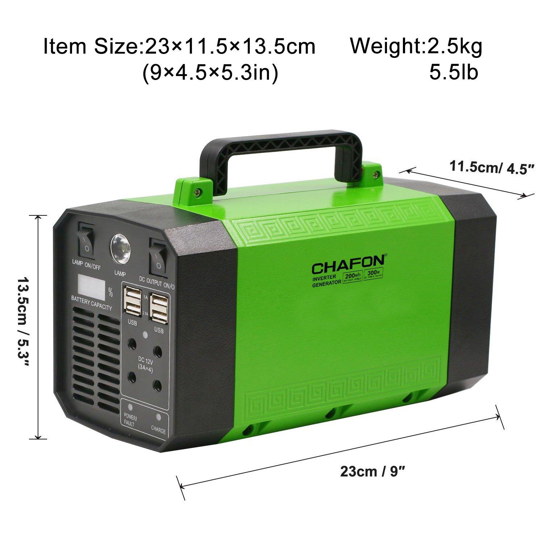 Amazon.com: CHAFON 300W Portable Generator Power Inverter,200WH ...