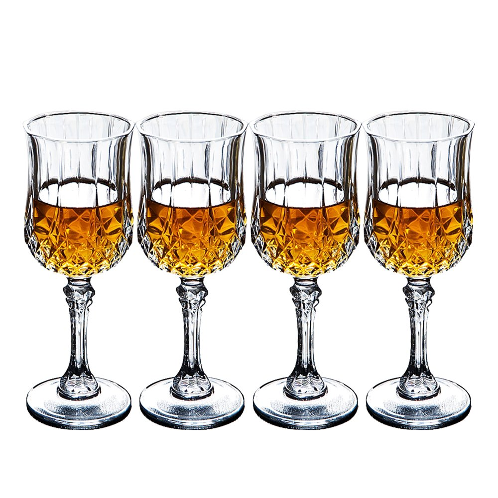 Crystal Wine Glasses Set of 4 by Bella Vino - 5.5 Ounce - Old Fashioned Designed Carved Wine Glass - Lead-Free Short Stem Champagne Goblets - Durable and Dishwasher Safe - for Family Dinner, Parties by Bella Vino