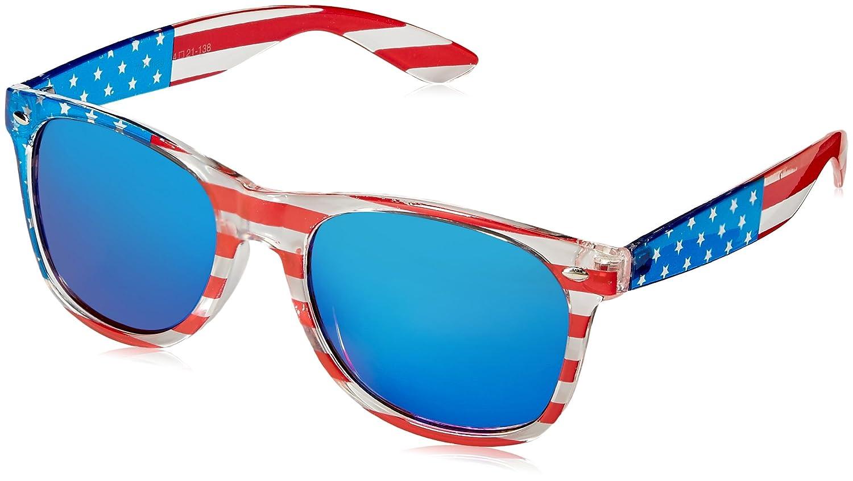 8ae1520848cc4 Amazon.com  Classic American Patriot Flag Wayfarer Style Sunglasses USA  (all 3 pairs)  Clothing