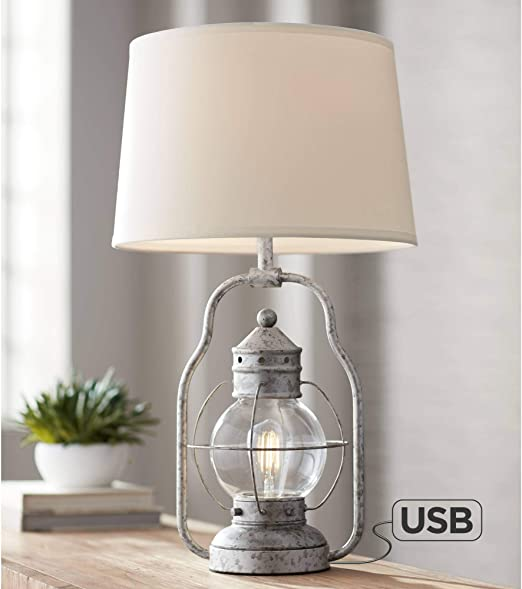 Bodie Rustic Industrial Table Lamp With Usb Charging Port Nightlight Antique Led Edison Distressed Silver Off White Linen Shade For Living Room Bedroom Bedside Nightstand Office Franklin Iron Works Amazon Com