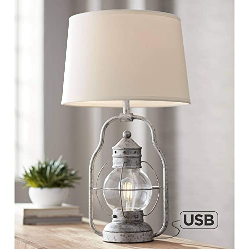 Bodie Rustic Industrial Table Lamp with USB Charging Port Nightlight Antique LED Edison Distressed Silver Off White Linen Shade for Living Room Bedroom Bedside Nightstand Office – Franklin Iron Works